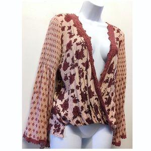 Taylor & Sage   Bohemian Crochet Trim Low Cut Top